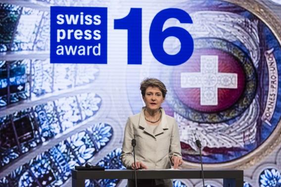 Der Festakt zur Verleihung des Schweizer Medienpreises Swiss Press Award 16 im Hotel Bellevue in Bern, am Mittwoch, 27. April 2016. (KEYSTONE/Alessandro della Valle)